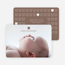 Tiny Teddy Bear Photo Birth Announcement Prints - Cocoa