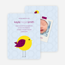 Tweetie Birth Modern Baby Announcement - Light Blue
