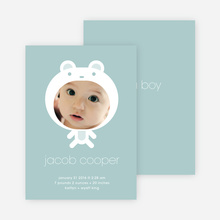 Baby in Cuddly Bear Outfit Baby Announcement - Grey Blue