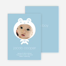 Baby in Cuddly Bear Outfit Baby Announcement - Baby Blue