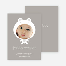 Baby in Cuddly Bear Outfit Baby Announcement - Warm Grey