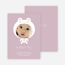 Baby in Cuddly Bear Outfit Baby Announcement - Dusty Rose