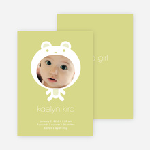 Baby in Cuddly Bear Outfit Baby Announcement - Light Mustard