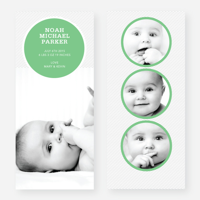 Circle Themed Birth Announcements - Green