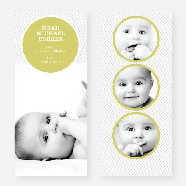 Circle Themed Birth Announcements - Yellow