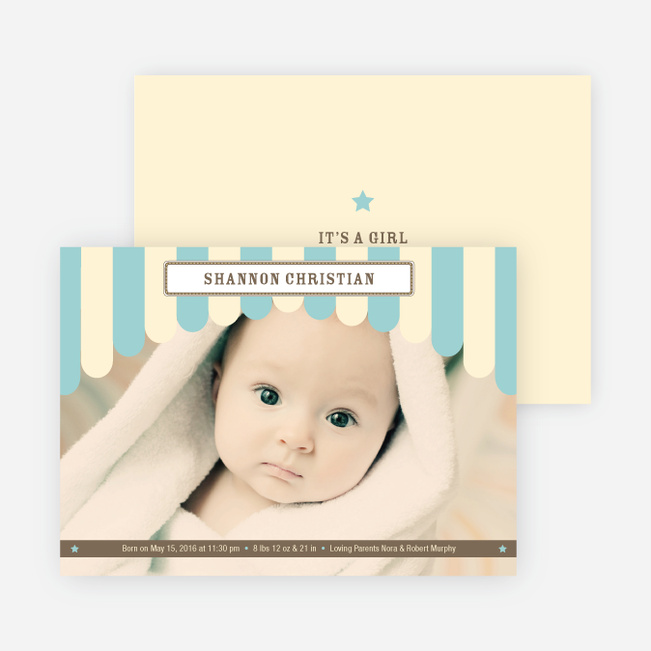 Circus has Arrived Birth Announcements - Teal Tot