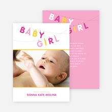 Fun Clothesline Birth Announcements - Blink Pink