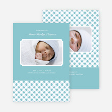 Gingham Modern Baby Announcement - Powder Blue