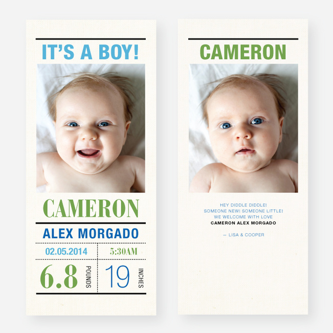 Headliner Birth Announcements - Blue