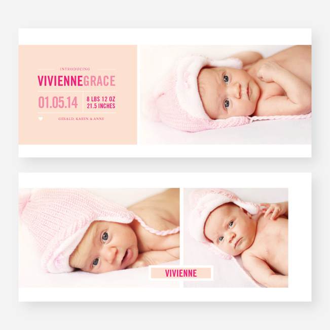 Introducing Your Baby Announcements - Pink