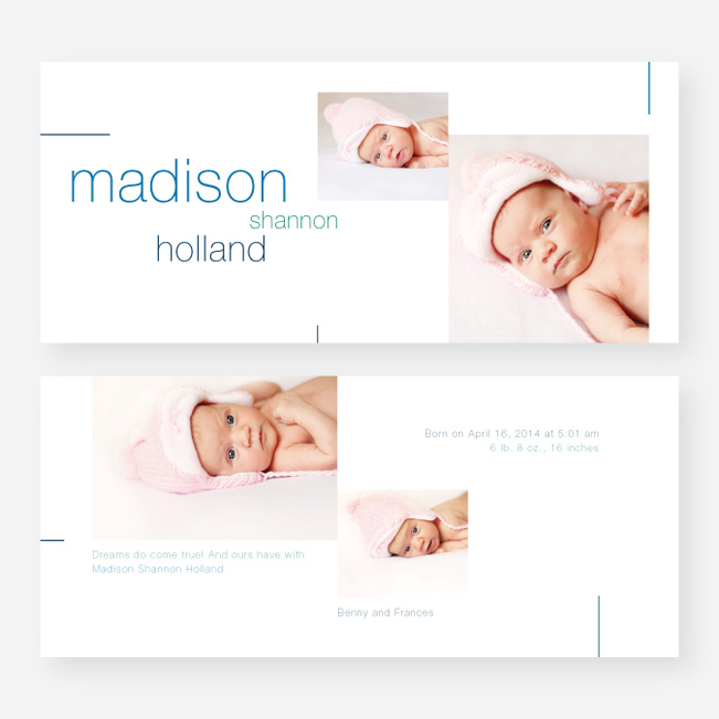 Lines Birth Announcements - Blue