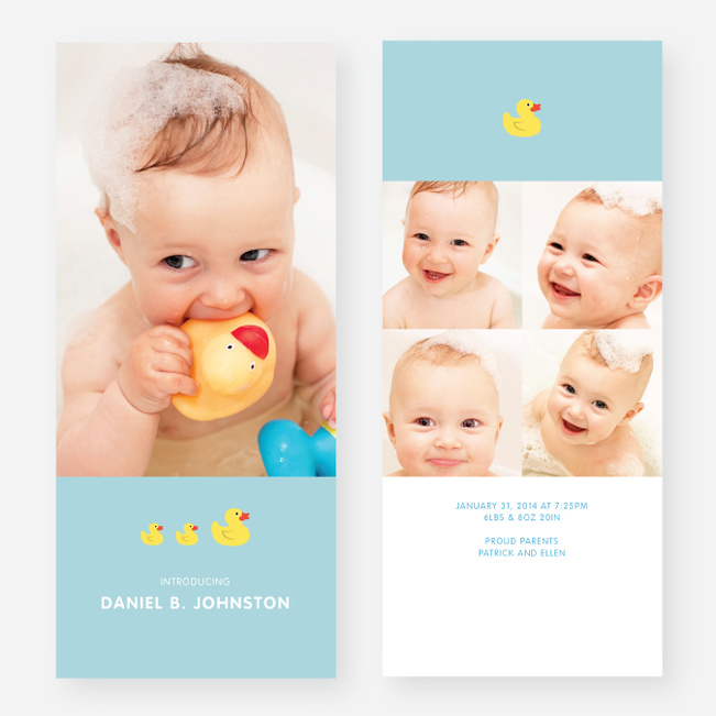Rubber Ducky, You're the One Birth Announcements - Blue