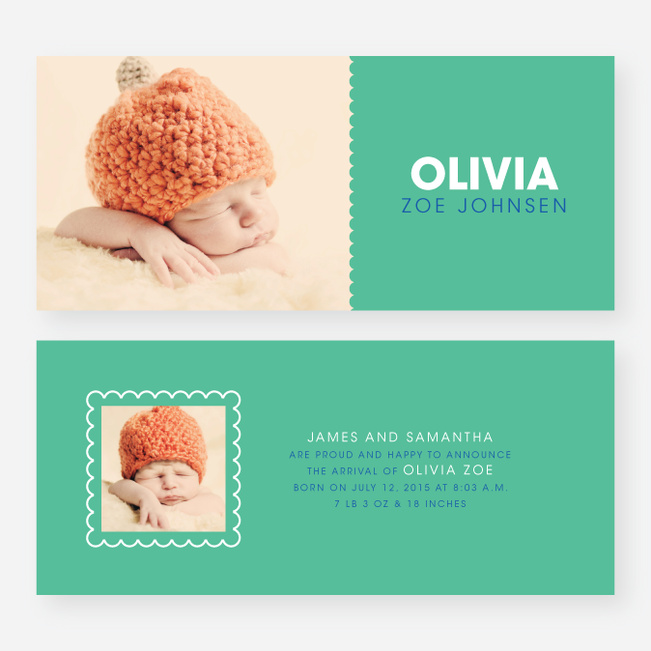 Color Block Baby Announcements - Blue
