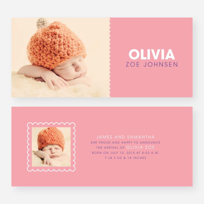 Color Block Baby Announcements - Pink