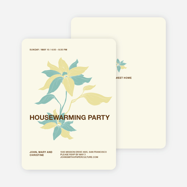 Flower Themed Housewarming Party Invitations - Buttercup
