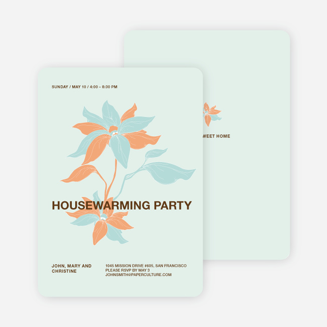 Flower Themed Housewarming Party Invitations - Persimmon