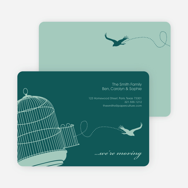 Flown the Coop Moving Announcement and Housewarming Invite - Teal
