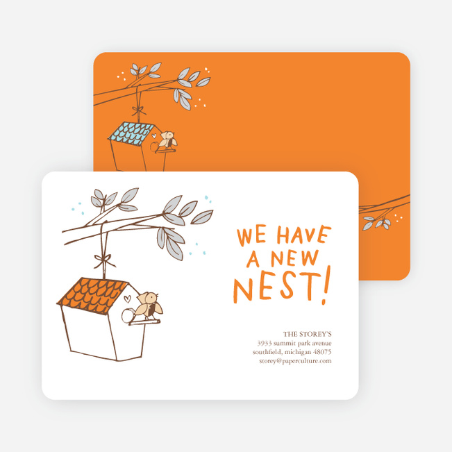 Flown the Coop, New Nest Moving Announcements - Orange Soda