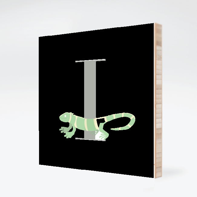 I Iguana Monogram Bamboo Art - Warm Gray