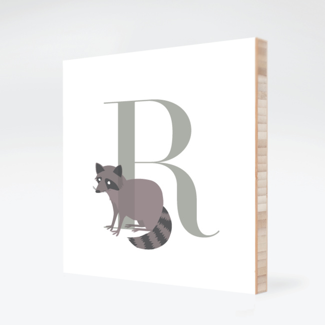 R Raccoon Monogram Bamboo Art - Warm Gray