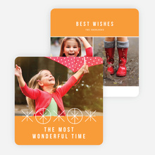 Ornaments and Stars Christmas Cards - Orange