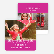 Ornaments and Stars Christmas Cards - Pink
