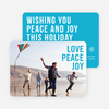 Big and Bold Text Holiday Cards - Blue