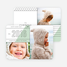 Diagonal Lines New Year Cards - Green