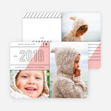 Diagonal Lines New Year Cards - Pink
