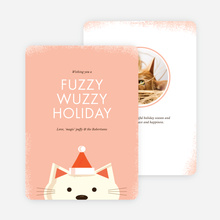 Fuzzy Wuzzy Cat Holiday Cards - Pink