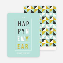 Geometric Modern Triangles New Year Cards - Blue