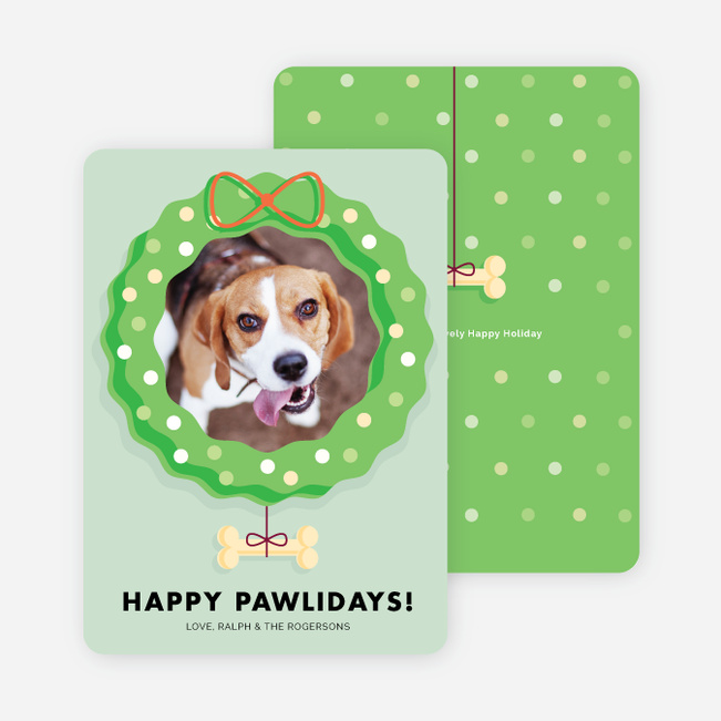 Happy Pawlidays Holiday Cards - Green