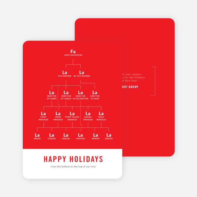 Festive Org Chart Corporate Holiday Cards - Red