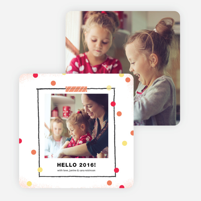 Polka Dot Frame New Year Cards - Orange