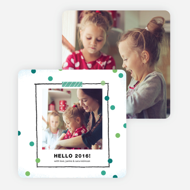Polka Dot Frame New Year Cards - Blue