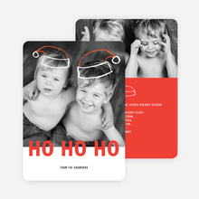 Floating Santa Hats Christmas Cards - Red
