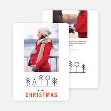 Simple Tree Icons Christmas Card - Red