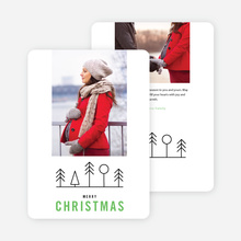 Simple Tree Icons Christmas Card - Green
