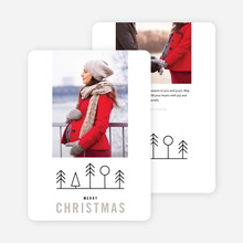 Simple Tree Icons Christmas Card - Gray
