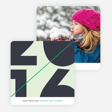 Diagonal Stripes New Year Cards - Green