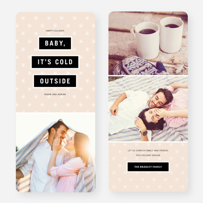 Baby It's Cold Outside Holiday Cards - Pink