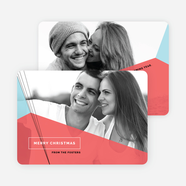 Geometric Photo Christmas Cards - Red