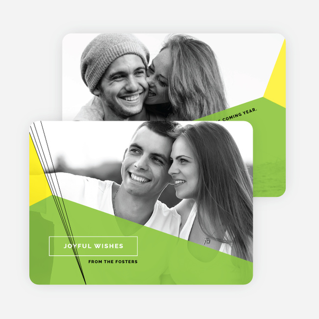 Geometric Shapes Photo Holiday Cards - Green