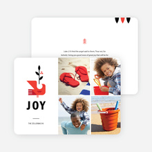 Modern Dove Christmas Card - Red
