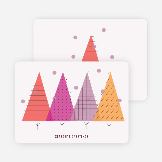 Modern Forest Holiday Cards - Red