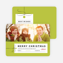 Photo Gift Tag Christmas Cards - Green