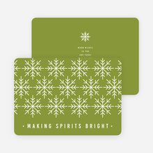 Snowflake Decoration Christmas Cards - Green