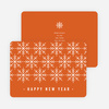 Snowflake Motif Corporate New Year Cards - Orange