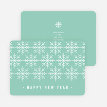 Snowflake Motif Corporate New Year Cards - Blue