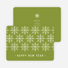 Snowflake Motif Corporate New Year Cards - Green
